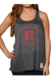 Original Retro Brand Rutgers Scarlet Knights Juniors Charcoal Relaxed Circle Tank Top