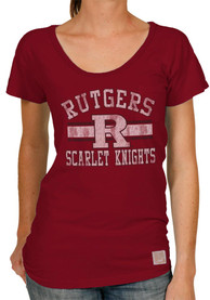 Original Retro Brand Rutgers Scarlet Knights Juniors R Stripe Red Scoop T-Shirt
