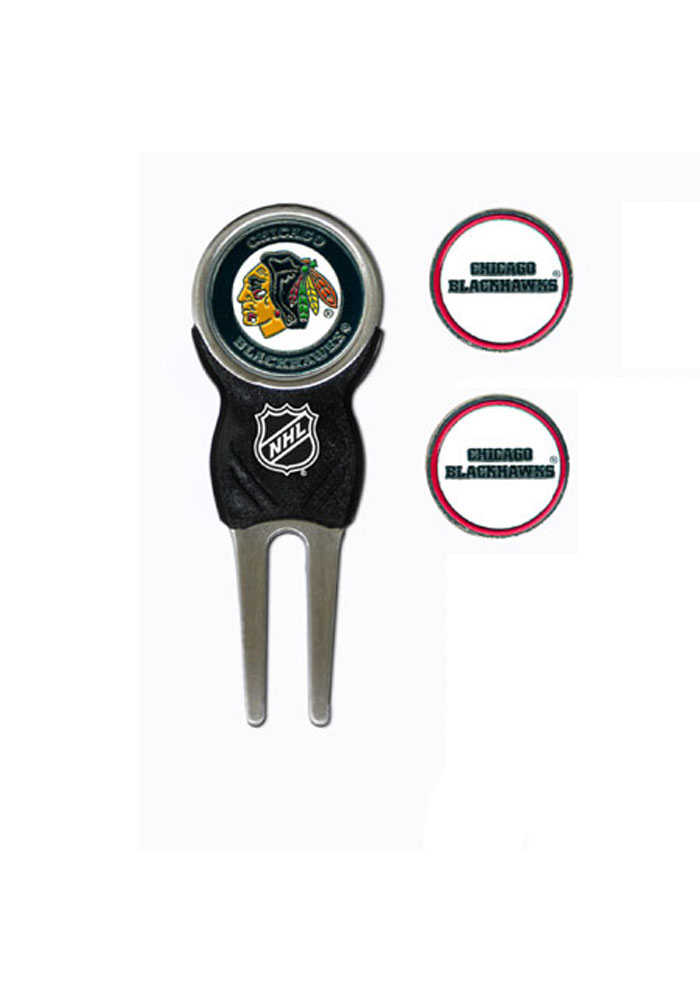 Chicago Blackhawks 3 Pack Ball Marker Divot Tool - Image 1