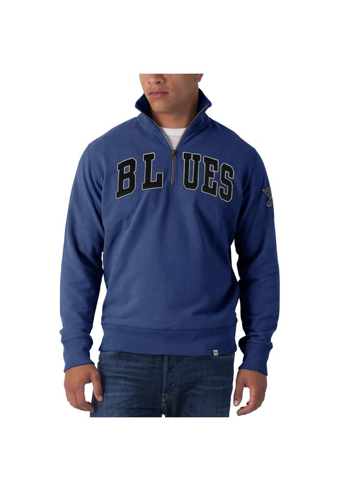 47 St Louis Blues Mens Blue Striker Long Sleeve 1/4 Zip Fashion Pullover - Image 1