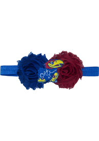 Kansas Jayhawks Baby Flower Hair Ribbons - Blue
