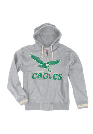 Mitchell and Ness Philadelphia Eagles Mens Grey Retro Zip Fashion