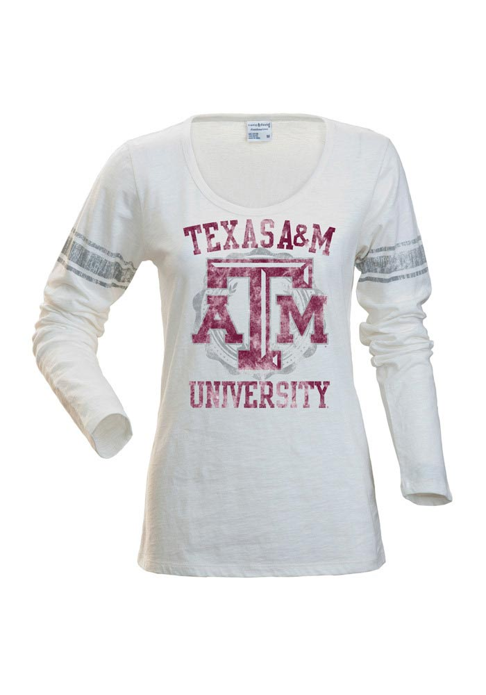 Texas A&M Juniors White Autumn Long Sleeve Scoop Neck - Image 1