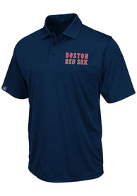 Majestic Boston Red Sox Mens Navy Blue Athletic Tradtional Short Sleeve Polo Shirt