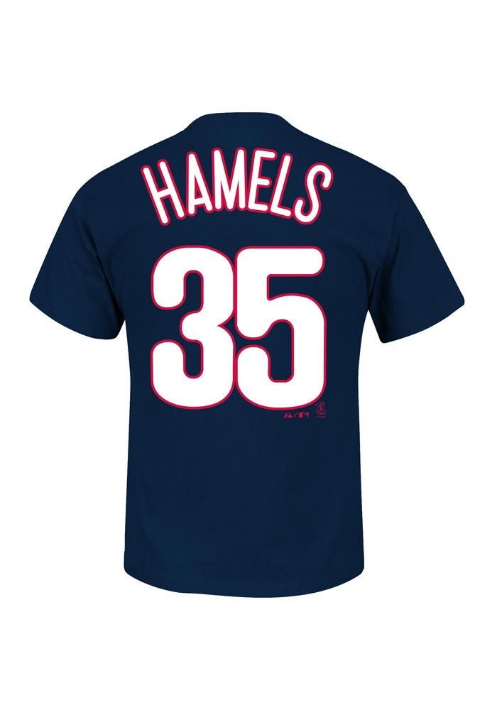Cole Hamels Philadelphia Phillies Youth Navy Blue Name And Number Player Tee - Image 1