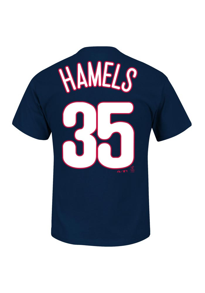 Cole Hamels Philadelphia Phillies Kids Navy Blue Name And Number Player Tee - Image 1