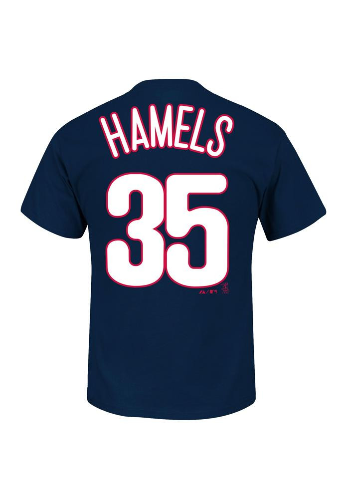 Cole Hamels Philadelphia Phillies Kids Navy Blue Name And Number Player Tee - Image 2