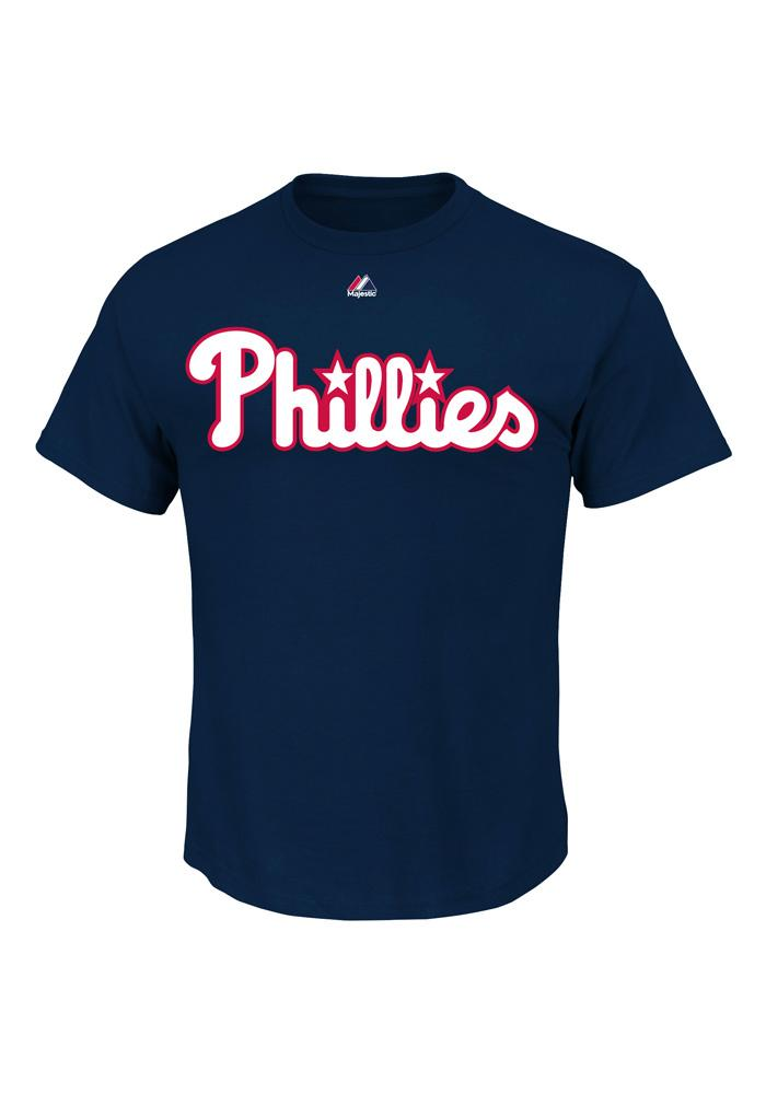 Cole Hamels Philadelphia Phillies Youth Navy Blue Name And Number Player Tee - Image 3