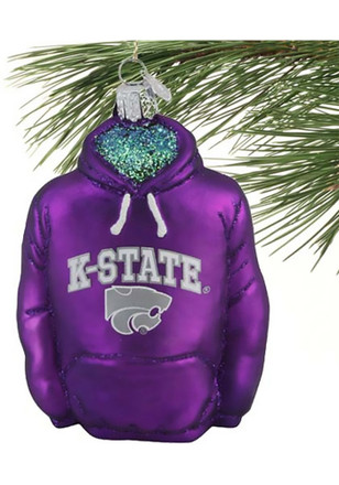 K-State Wildcats Hoodie Glass Ornament