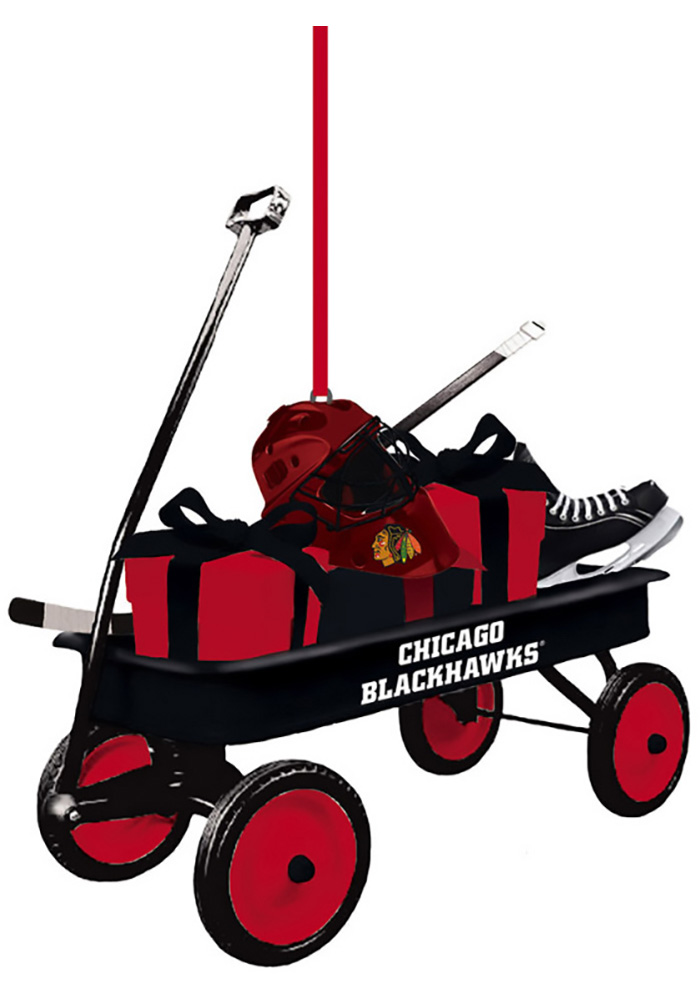 Chicago Blackhawks Team Gift Wagon Ornament - Image 1