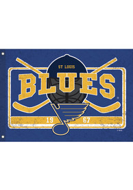 St Louis Blues 3x5 ft Linen Estate Blue Silk Screen Grommet Flag