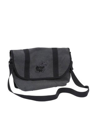 Kansas Jayhawks Grey Varsity Messenger Gym Bag