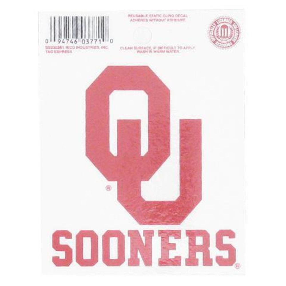 Oklahoma Sooners Small Auto Static Cling - Image 2