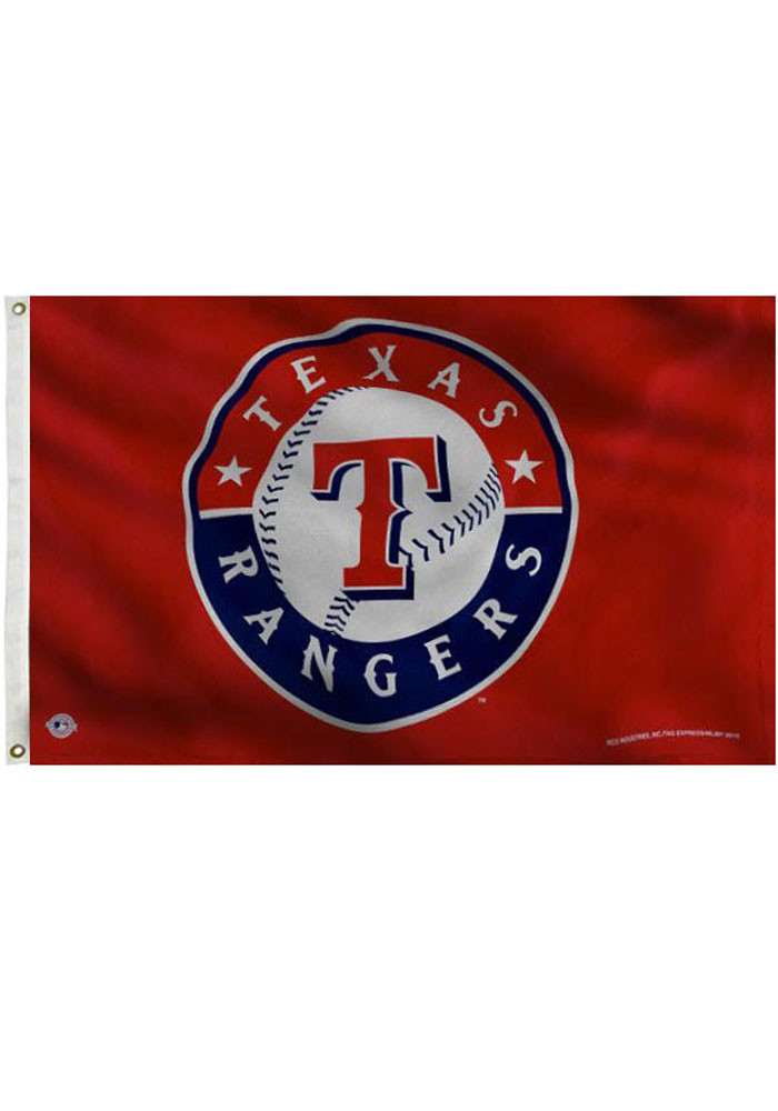 Texas Rangers 3x5 Red Grommet Red Silk Screen Grommet Flag - Image 1