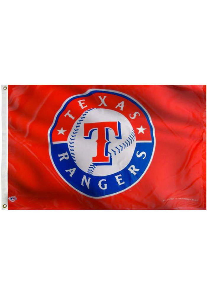 Texas Rangers 3x5 Red Grommet Red Silk Screen Grommet Flag - Image 2