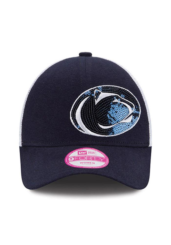 New Era Penn State Nittany Lions Navy Blue Sequin Shimmer Womens Adjustable Hat - Image 4