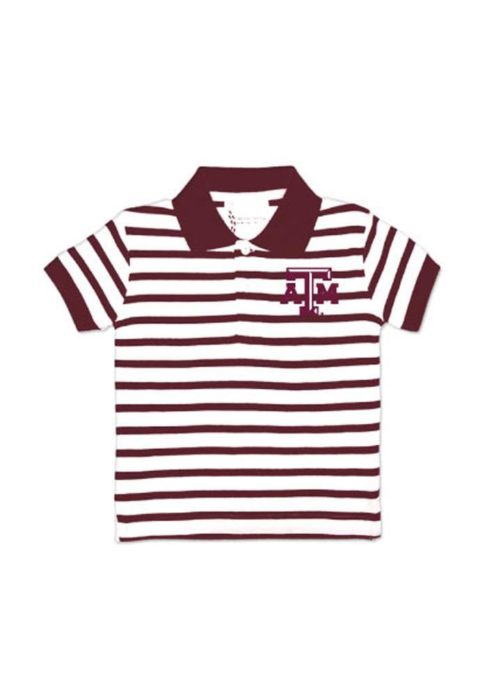 Texas A&M Aggies Toddler Maroon Stripe Short Sleeve Polo Shirt - Image 1