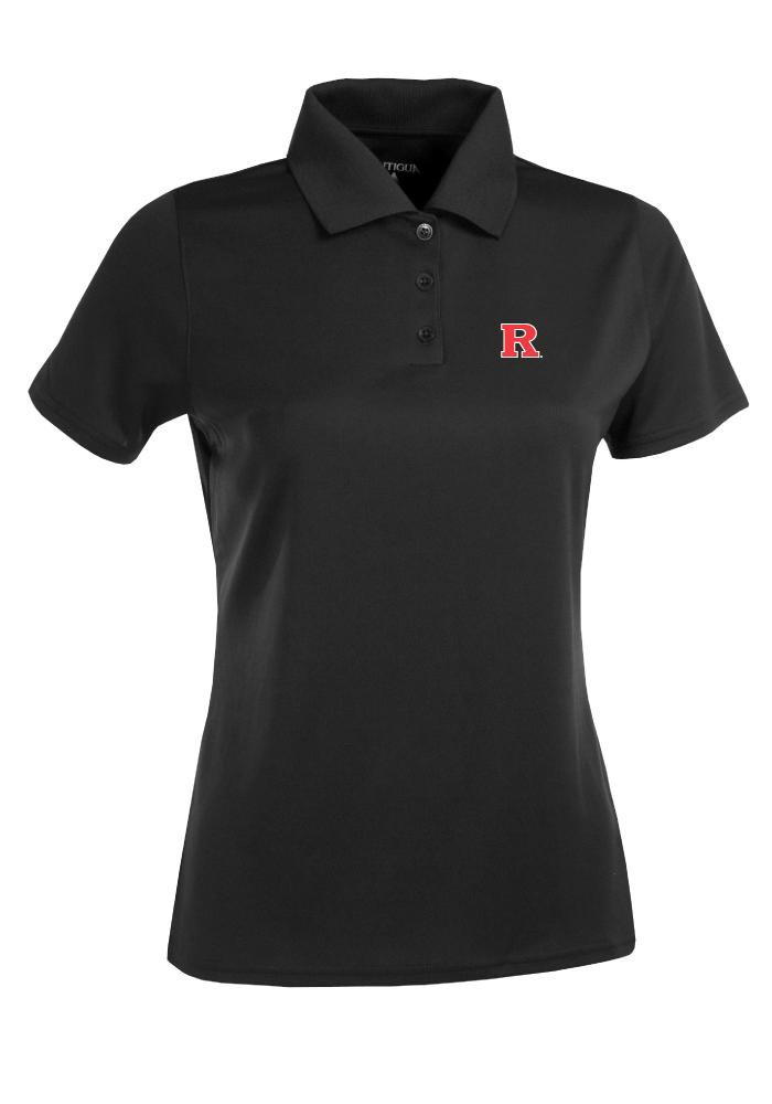 Antigua Rutgers Scarlet Knights Womens Black Exceed Short Sleeve Polo Shirt - Image 1