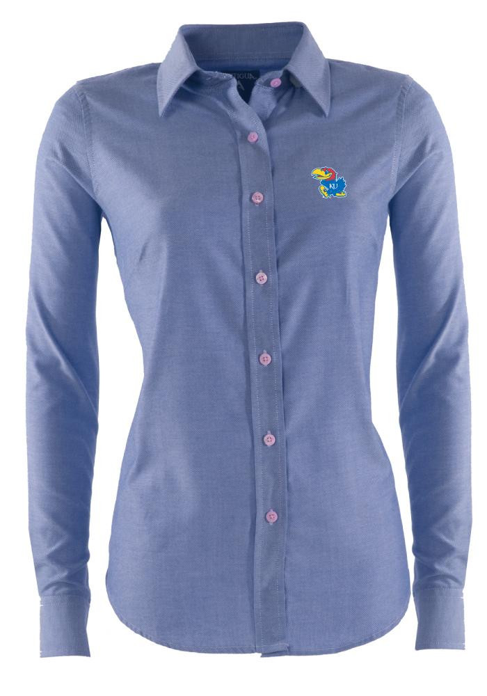 Antigua Kansas Jayhawks Womens Sharp Long Sleeve Blue Dress Shirt - Image 1