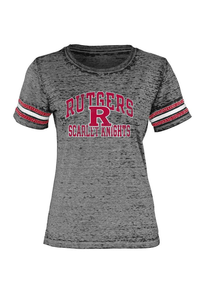 Rutgers Scarlet Knights Juniors Grey Tri-Blend Burnout Short Sleeve Crew T-Shirt - Image 1