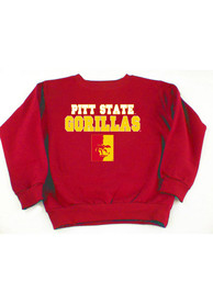 Pitt State Gorillas Toddler Red Mascot Crew Sweatshirt
