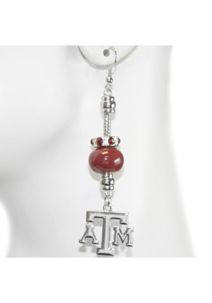 Texas A&M Aggies Womens Beaded Dangle Earrings - Silver