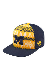 Michigan Wolverines Top of the World Big Logo Ugly Sweater Snapback - Navy Blue