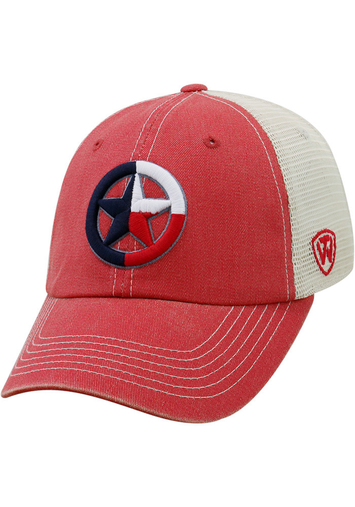 Top of the World Texas Mens Red Dirty Mesh Adjustable Hat - Image 1