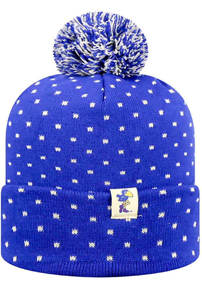 Top of the World Kansas Jayhawks Blue Firn Womens Knit Hat - Image 1