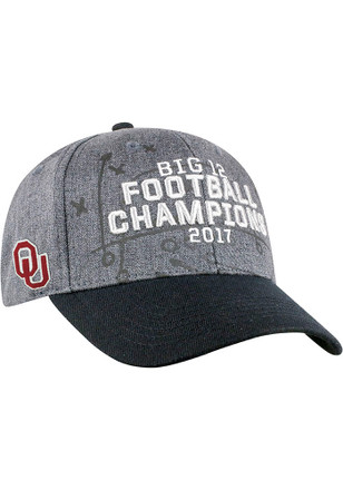 Top of the World Oklahoma Sooners Mens Grey 2017 Big 12 Champ LR Adjustable Hat