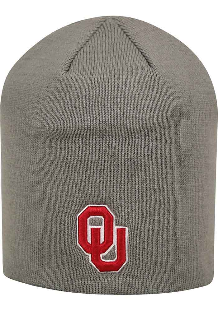 Top of the World Oklahoma Sooners Grey Uncuffed Mens Knit Hat - Image 1