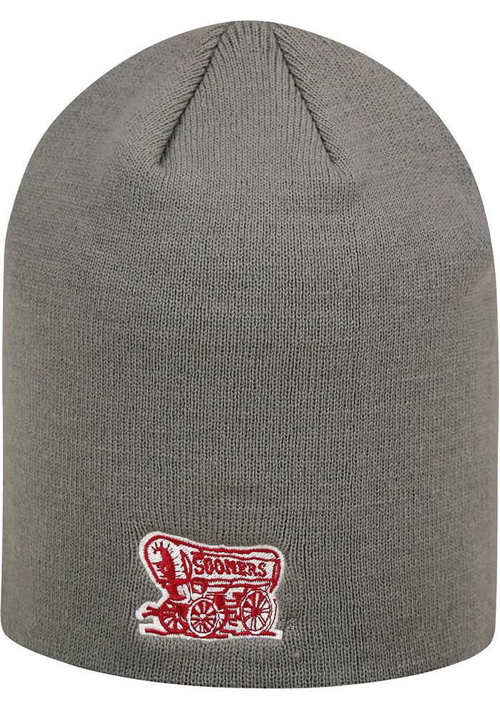 Top of the World Oklahoma Sooners Grey Uncuffed Mens Knit Hat - Image 2