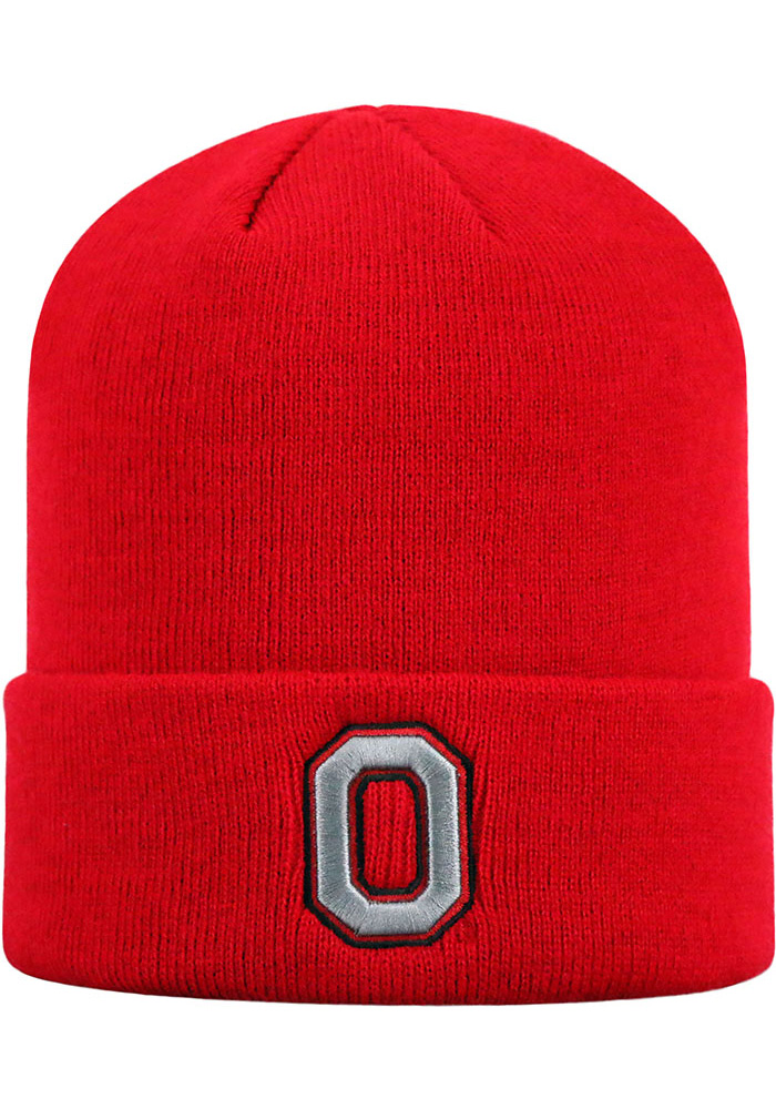 Top of the World Ohio State Buckeyes Red Cuff Mens Knit Hat - Image 1