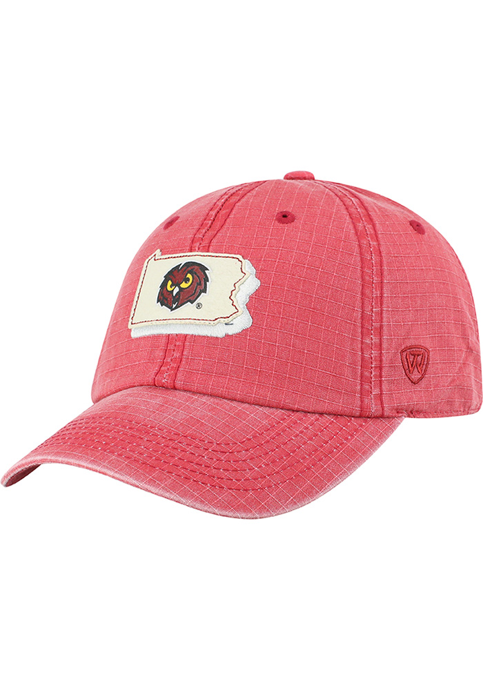 Temple Owls Top of the World Stateline Adjustable Hat - Cardinal