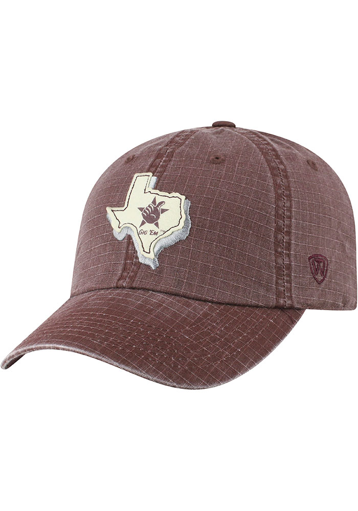 Texas A&M Aggies Top of the World Stateline Adjustable Hat - Maroon