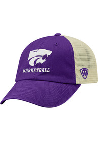 K-State Wildcats Top of the World Basketball Dirty Mesh Adjustable Hat - Purple