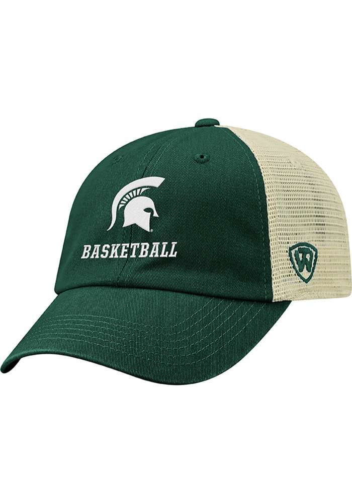 Top of the World Michigan State Spartans Basketball Dirty Mesh Adjustable Hat - Green - Image 1
