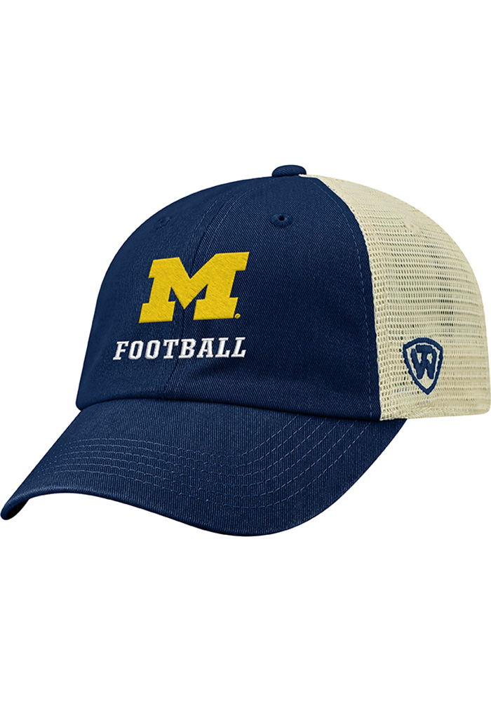 Top of the World Michigan Wolverines Football Dirty Mesh Adjustable Hat - Navy Blue - Image 1