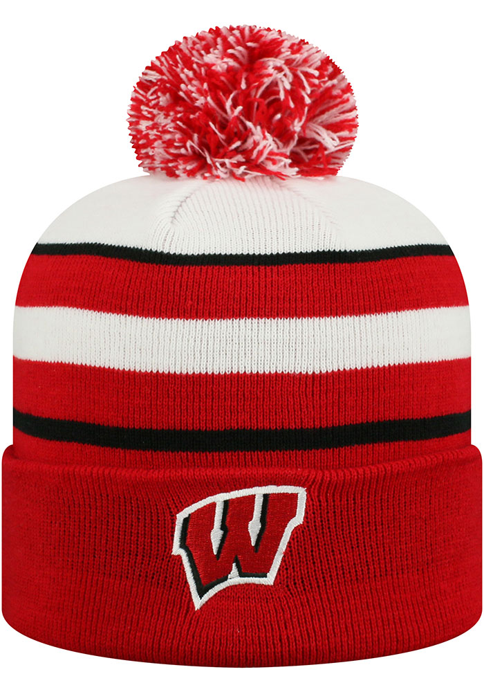 Top of the World Wisconsin Badgers Red Skyview Ciff Mens Knit Hat - Image 1