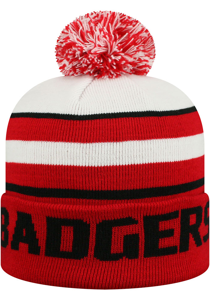 Top of the World Wisconsin Badgers Red Skyview Ciff Mens Knit Hat - Image 2