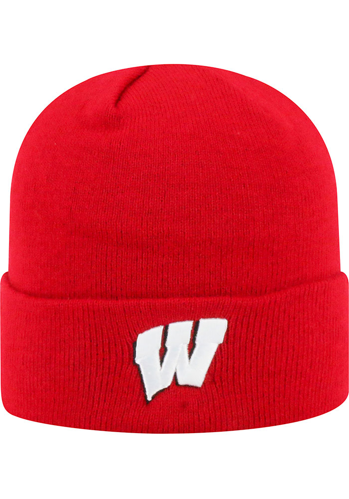 Top of the World Wisconsin Badgers Red Tow Cuff Mens Knit Hat - Image 1