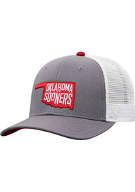 Oklahoma Sooners Top of the World Hi Rise Meshback Adjustable Hat - Grey