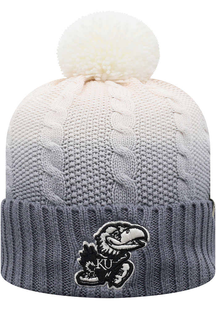 Kansas Jayhawks Top of the World Dissolve Fade Cuff Pom Knit - Grey