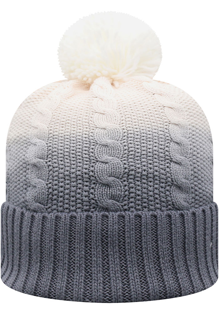 Top of the World Kansas Jayhawks Grey Dissolve Fade Cuff Pom Mens Knit Hat - Image 2