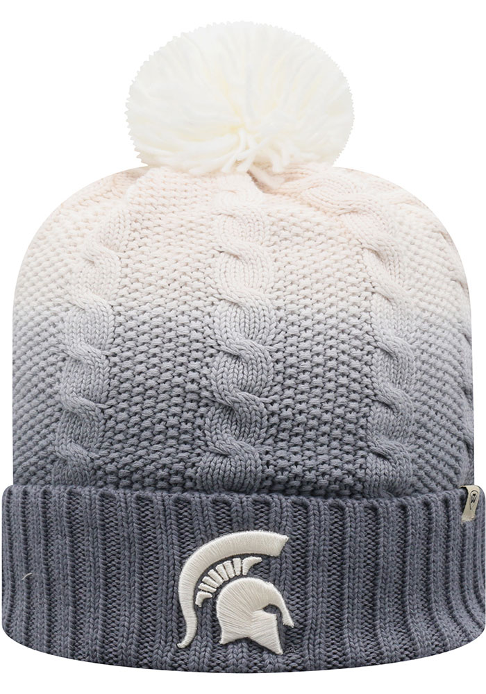 Michigan State Spartans Top of the World Dissolve Fade Cuff Pom Knit - Grey