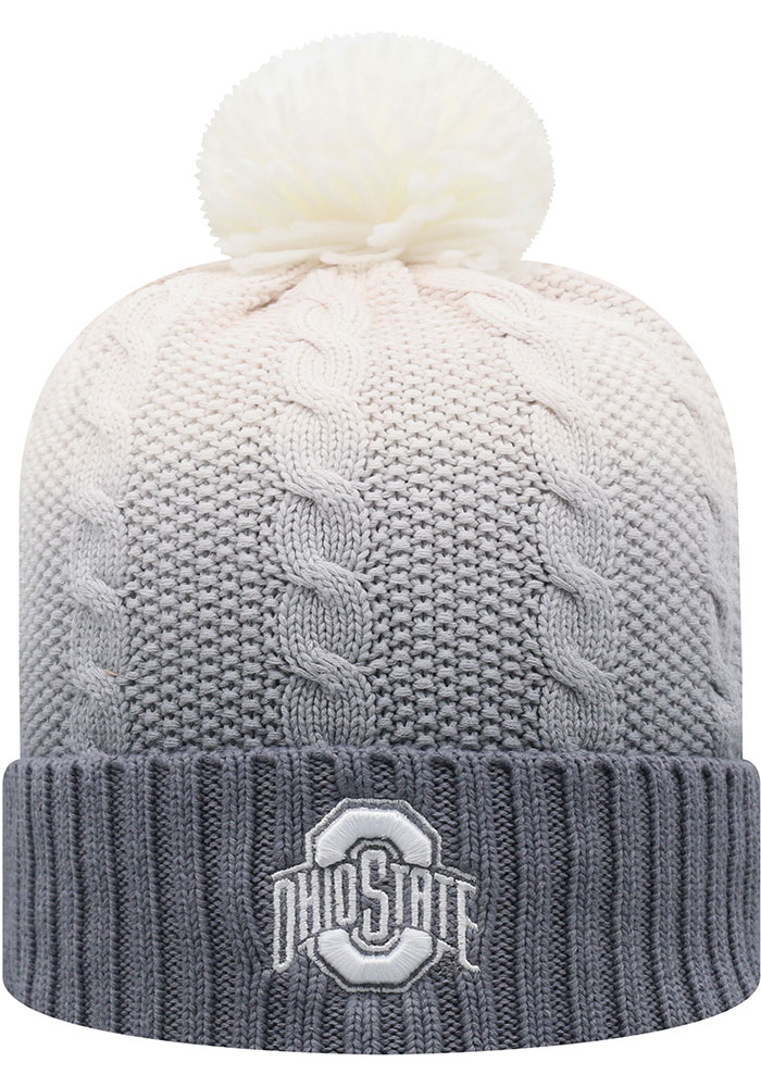Top of the World Ohio State Buckeyes Grey Dissolve Fade Cuff Pom Mens Knit Hat - Image 1