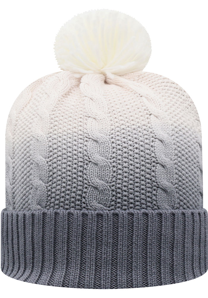 Top of the World Ohio State Buckeyes Grey Dissolve Fade Cuff Pom Mens Knit Hat - Image 2