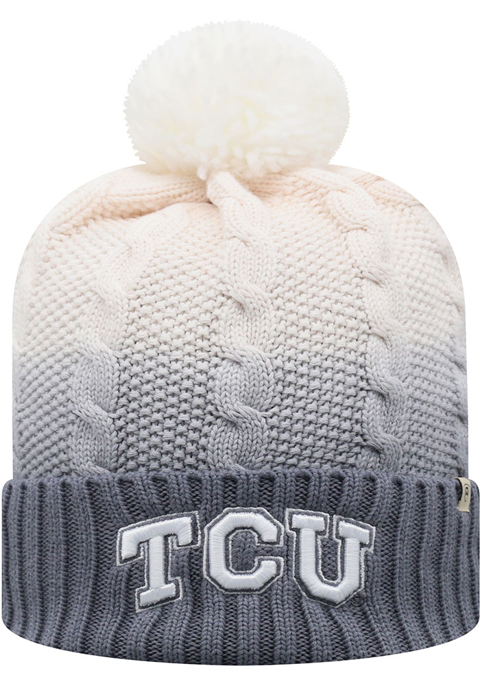 TCU Horned Frogs Top of the World Dissolve Fade Cuff Pom Knit - Grey