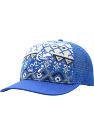 Kansas Jayhawks Top of the World Given Holiday Sweater Adjustable Hat - Blue