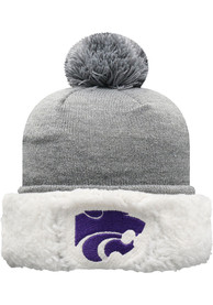 K-State Wildcats Womens Top of the World Snugs Sherpa Cuff Pom Knit - Grey